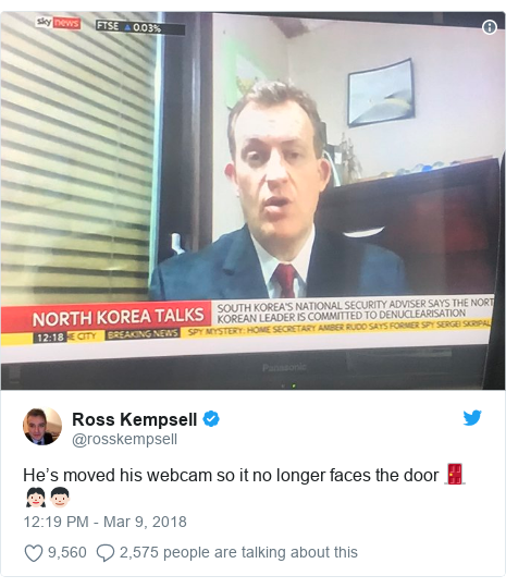 Twitter post by @rosskempsell: He's moved his webcam so it no longer faces the door 🚪 👧🏻👦🏻