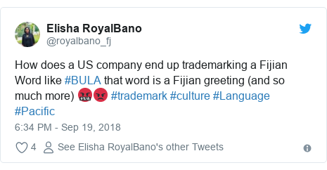 Twitter post by @royalbano_fj: How does a US company end up trademarking a Fijian Word like #BULA that word is a Fijian greeting (and so much more) 🤬😡 #trademark #culture #Language #Pacific