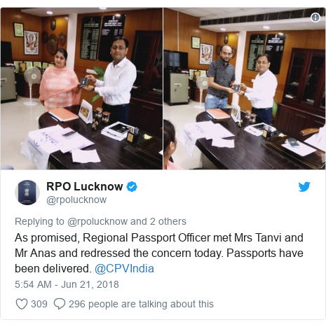 Twitter post by @rpolucknow: As promised, Regional Passport Officer met Mrs Tanvi and Mr Anas and redressed the concern today. Passports have been delivered. @CPVIndia