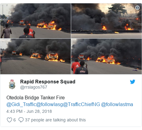 Twitter post by @rrslagos767: Otedola Bridge Tanker Fire @Gidi_Traffic@followlasg@TrafficChiefNG @followlastma