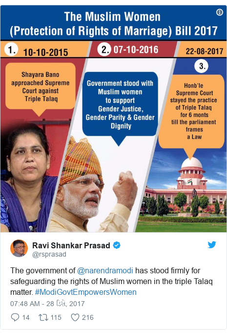 Twitter post by @rsprasad: The government of @narendramodi has stood firmly for safeguarding the rights of Muslim women in the triple Talaq matter.  #ModiGovtEmpowersWomen