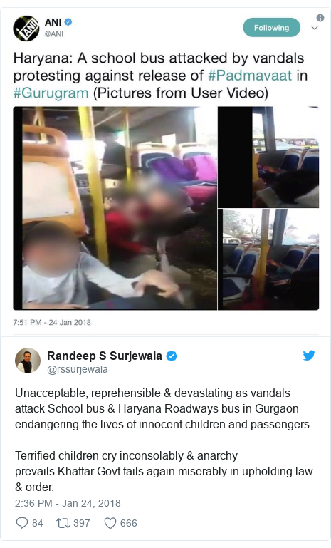 Twitter post by @rssurjewala: Unacceptable, reprehensible & devastating as vandals attack School bus & Haryana Roadways bus in Gurgaon endangering the lives of innocent children and passengers.Terrified children cry inconsolably & anarchy prevails.Khattar Govt fails again miserably in upholding law & order.