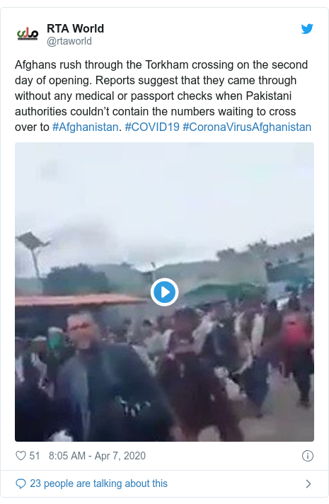 Twitter post by @rtaworld: Afghans rush through the Torkham crossing on the second day of opening. Reports suggest that they came through without any medical or passport checks when Pakistani authorities couldn't contain the numbers waiting to cross over to #Afghanistan. #COVID19 #CoronaVirusAfghanistan