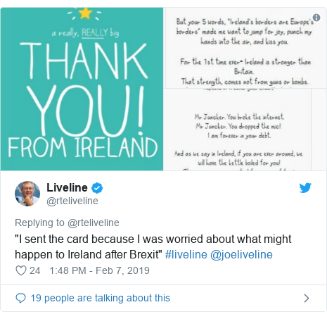 """Twitter post by @rteliveline: """"I sent the card because I was worried about what might happen to Ireland after Brexit"""" #liveline @joeliveline"""
