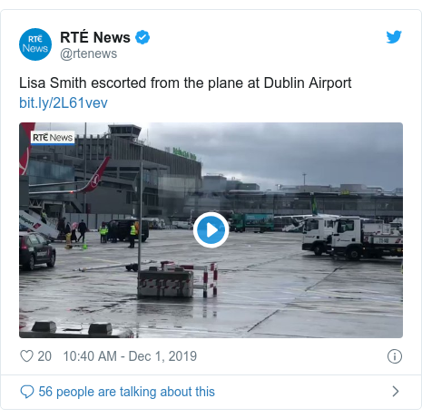 Twitter post by @rtenews: Lisa Smith escorted from the plane at Dublin Airport