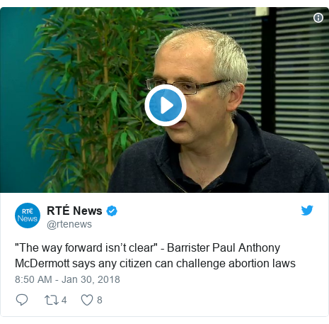 "Twitter post by @rtenews: ""The way forward isn't clear"" - Barrister Paul Anthony McDermott says any citizen can challenge abortion laws"