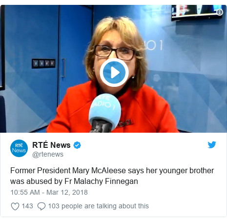 Twitter post by @rtenews: Former President Mary McAleese says her younger brother was abused by Fr Malachy Finnegan
