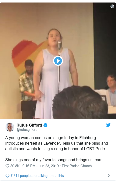 Twitter post by @rufusgifford: A young woman comes on stage today in Fitchburg. Introduces herself as Lavender. Tells us that she blind and autistic and wants to sing a song in honor of LGBT Pride. She sings one of my favorite songs and brings us tears.
