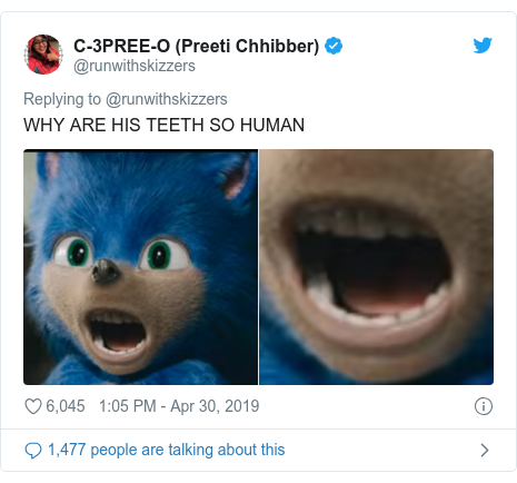 Twitter post by @runwithskizzers: WHY ARE HIS TEETH SO HUMAN