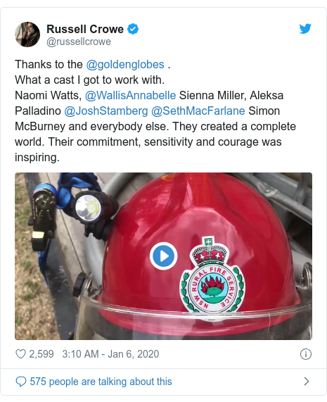 Twitter post by @russellcrowe: Thanks to the @goldenglobes .What a cast I got to work with.Naomi Watts, @WallisAnnabelle Sienna Miller, Aleksa Palladino @JoshStamberg @SethMacFarlane Simon McBurney and everybody else. They created a complete world. Their commitment, sensitivity and courage was inspiring.