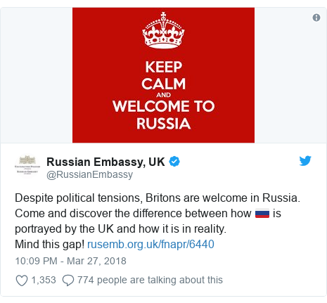 Twitter post by @RussianEmbassy: Despite political tensions, Britons are welcome in Russia. Come and discover the difference between how 🇷🇺 is portrayed by the UK and how it is in reality.Mind this gap!