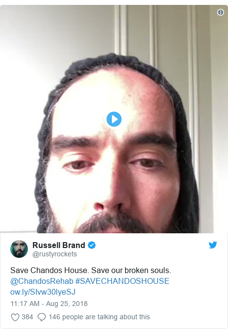 Twitter post by @rustyrockets: Save Chandos House. Save our broken souls. @ChandosRehab #SAVECHANDOSHOUSE