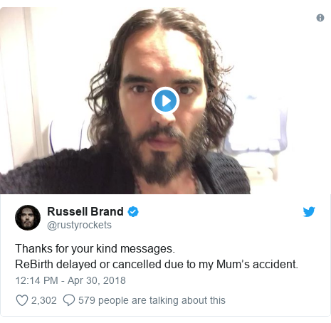 Twitter post by @rustyrockets: Thanks for your kind messages.ReBirth delayed or cancelled due to my Mum's accident.