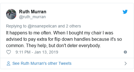 Twitter post by @ruth_murran: It happens to me often. When I bought my chair I was advised to pay extra for flip down handles because it's so common. They help, but don't deter everybody.