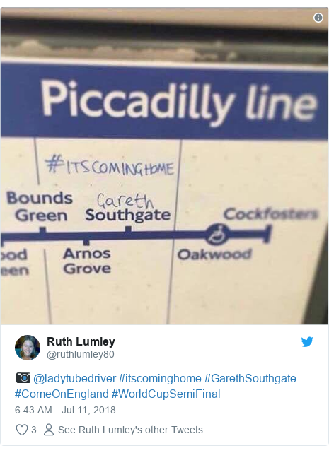 Twitter post by @ruthlumley80: 📷 @ladytubedriver #itscominghome #GarethSouthgate #ComeOnEngland #WorldCupSemiFinal
