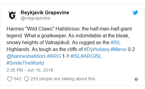 "Twitter post by @rvkgrapevine: Hannes ""Wild Claws"" Halldórsso  the half-man-half-giant legend. What a goalkeeper. As indomitable at the bleak, snowy heights of Vatnajökull. As rugged as the #ISL Highlands. As tough as the cliffs of #Dýrholaey.#Messi 0-2 @hanneshalldors #ARG 1-1 #ISL#ARGISL #SmiteTheWorld"