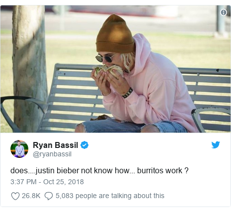 Twitter post by @ryanbassil: does....justin bieber not know how... burritos work ?