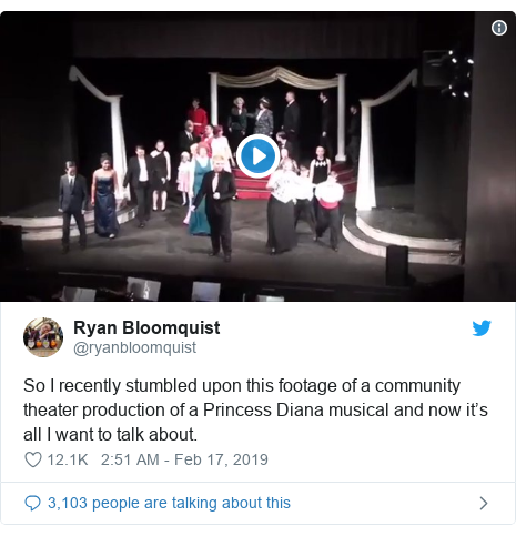 Twitter post by @ryanbloomquist: So I recently stumbled upon this footage of a community theater production of a Princess Diana musical and now it's all I want to talk about.