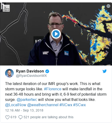 Twitter post by @RyanDavidsonWX: The latest iteration of our IMR group's work. This is what storm surge looks like. #Florence will make landfall in the next 36-48 hours and bring with it, 6-9 feet of potential storm surge. @parkertwc will show you what that looks like. @LocalNow @weatherchannel #NCwx #SCwx