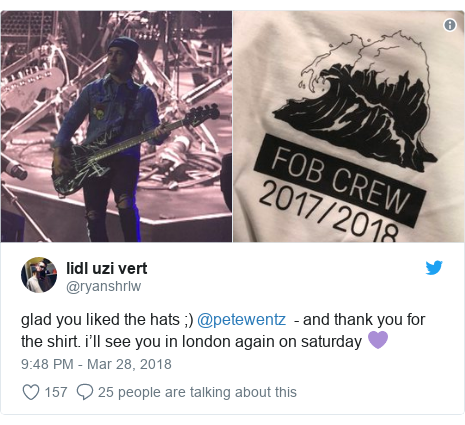 Twitter post by @ryanshrlw: glad you liked the hats ;) @petewentz  - and thank you for the shirt. i'll see you in london again on saturday 💜