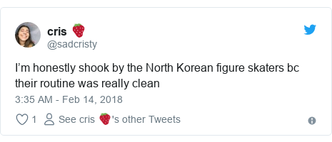 Twitter post by @sadcristy: I'm honestly shook by the North Korean figure skaters bc their routine was really clean