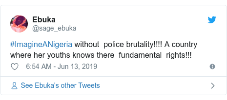 Twitter post by @sage_ebuka: #ImagineANigeria without  police brutality!!!! A country where her youths knows there  fundamental  rights!!!