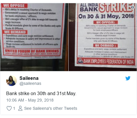 Twitter post by @saileenas: Bank strike on 30th and 31st May.
