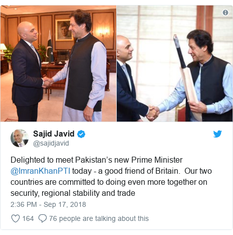 Twitter post by @sajidjavid: Delighted to meet Pakistan's new Prime Minister @ImranKhanPTI today - a good friend of Britain.  Our two countries are committed to doing even more together on security, regional stability and trade