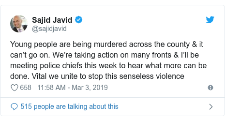 Twitter post by @sajidjavid: Young people are being murdered across the county & it can't go on. We're taking action on many fronts & I'll be meeting police chiefs this week to hear what more can be done. Vital we unite to stop this senseless violence