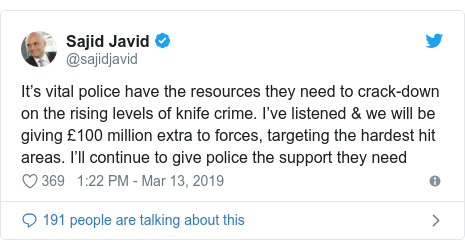 Twitter post by @sajidjavid: It's vital police have the resources they need to crack-down on the rising levels of knife crime. I've listened & we will be giving £100 million extra to forces, targeting the hardest hit areas. I'll continue to give police the support they need