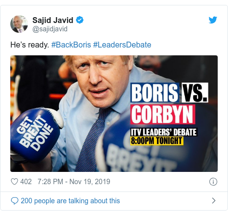 Twitter post by @sajidjavid: He's ready. #BackBoris #LeadersDebate
