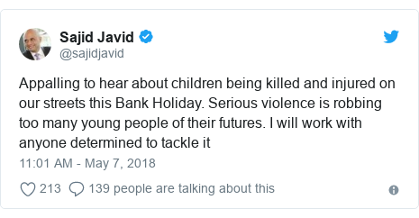 Twitter post by @sajidjavid: Appalling to hear about children being killed and injured on our streets this Bank Holiday. Serious violence is robbing too many young people of their futures. I will work with anyone determined to tackle it