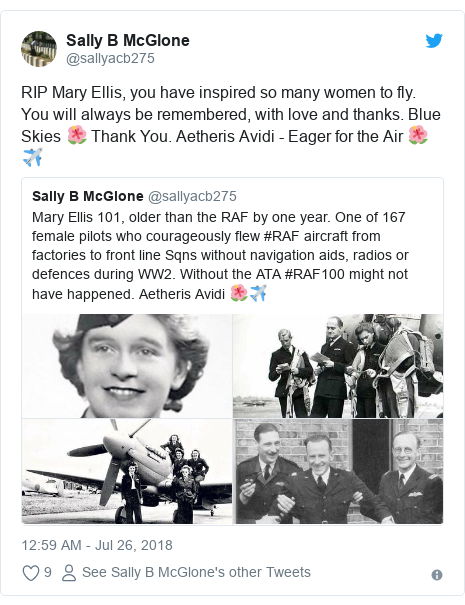 Twitter post by @sallyacb275: RIP Mary Ellis, you have inspired so many women to fly. You will always be remembered, with love and thanks. Blue Skies 🌺 Thank You. Aetheris Avidi - Eager for the Air 🌺✈️