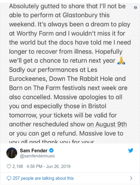 Twitter post by @samfendermusic: