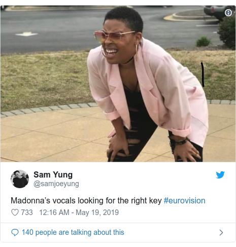 Twitter post by @samjoeyung: Madonna's vocals looking for the right key #eurovision
