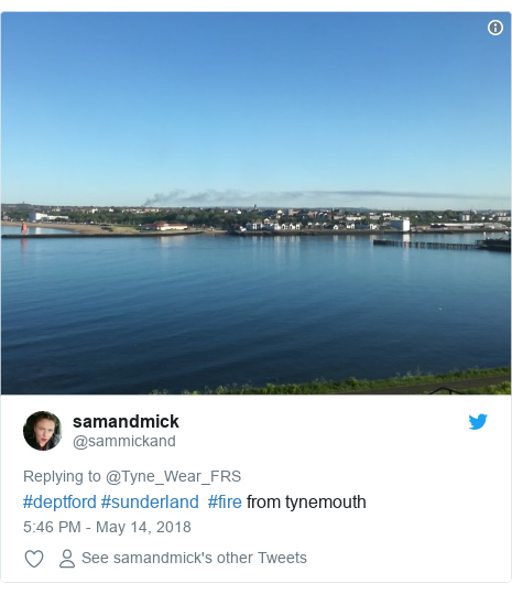 Twitter post by @sammickand: #deptford #sunderland  #fire from tynemouth