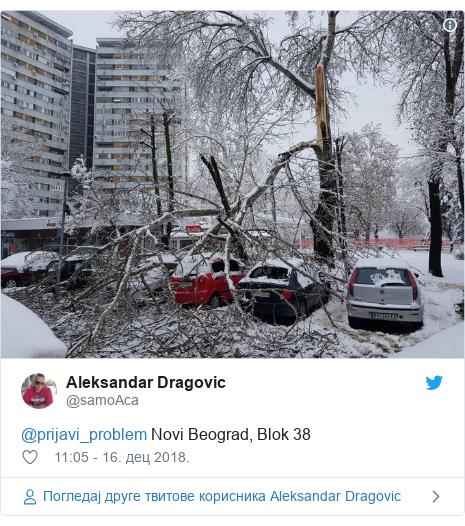 Twitter post by @samoAca: @prijavi_problem Novi Beograd, Blok 38