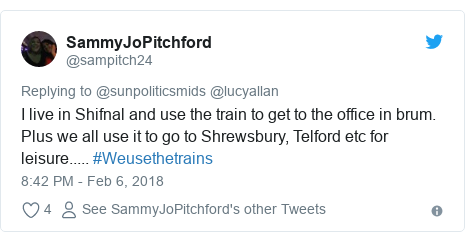 Twitter post by @sampitch24: I live in Shifnal and use the train to get to the office in brum. Plus we all use it to go to Shrewsbury, Telford etc for leisure..... #Weusethetrains