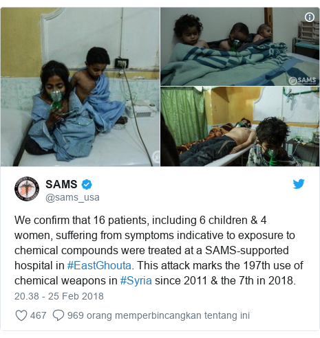 Twitter pesan oleh @sams_usa: We confirm that 16 patients, including 6 children & 4 women, suffering from symptoms indicative to exposure to chemical compounds were treated at a SAMS-supported hospital in #EastGhouta. This attack marks the 197th use of chemical weapons in #Syria since 2011 & the 7th in 2018.