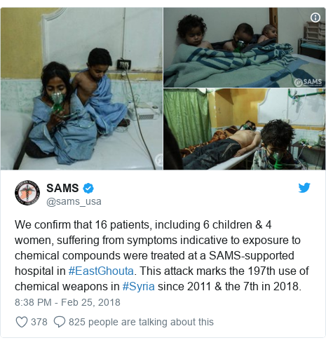 Twitter post by @sams_usa: We confirm that 16 patients, including 6 children & 4 women, suffering from symptoms indicative to exposure to chemical compounds were treated at a SAMS-supported hospital in #EastGhouta. This attack marks the 197th use of chemical weapons in #Syria since 2011 & the 7th in 2018.