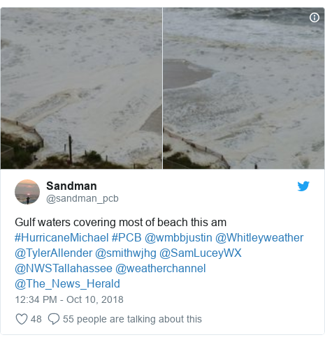Twitter post by @sandman_pcb: Gulf waters covering most of beach this am #HurricaneMichael #PCB @wmbbjustin @Whitleyweather @TylerAllender @smithwjhg @SamLuceyWX @NWSTallahassee @weatherchannel @The_News_Herald