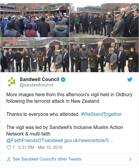 Twitter post by @sandwellcouncil: More images here from this afternoon's vigil held in Oldbury following the terrorist attack in New Zealand.Thanks to everyone who attended. #WeStandTogether The vigil was led by Sandwell's Inclusive Muslim Action Network & multi-faith @FaithFriendsOT