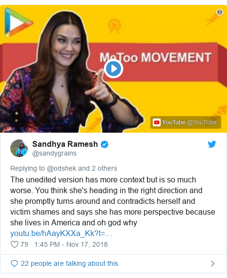 Twitter post by @sandygrains: The unedited version has more context but is so much worse. You think she's heading in the right direction and she promptly turns around and contradicts herself and victim shames and says she has more perspective because she lives in America and oh god why