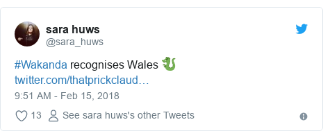 Twitter post by @sara_huws: #Wakanda recognises Wales 🐉