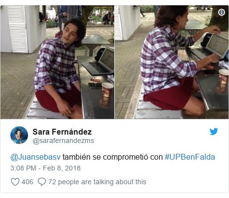 @sarafernandezms tərəfindən edilən Twitter paylaşımı: @Juansebasv también se comprometió con #UPBenFalda