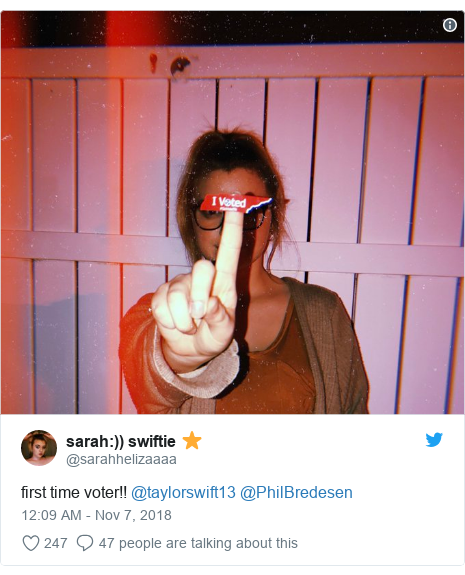 Twitter post by @sarahhelizaaaa:)) swiftie ⭐️  first time voter!! @taylorswift13 @PhilBredesen