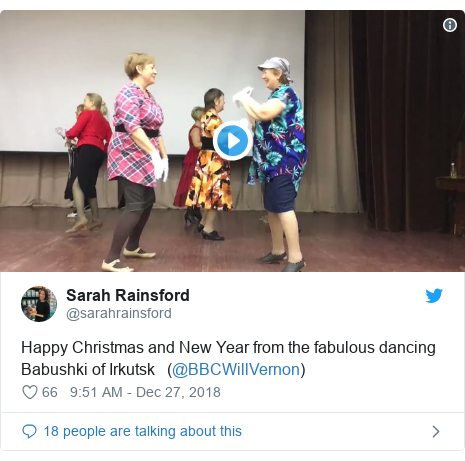 Twitter post by @sarahrainsford: Happy Christmas and New Year from the fabulous dancing Babushki of Irkutsk   (@BBCWillVernon)