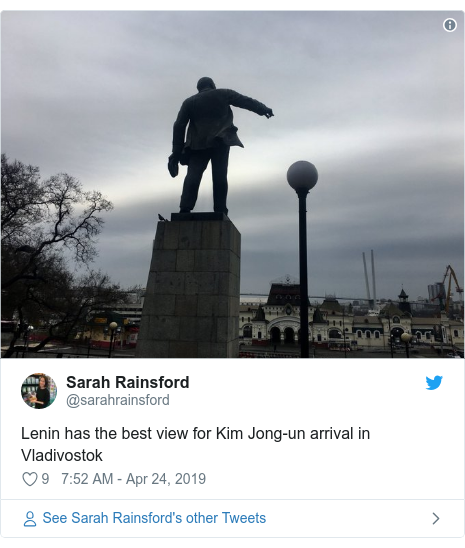 Twitter post by @sarahrainsford: Lenin has the best view for Kim Jong-un arrival in Vladivostok