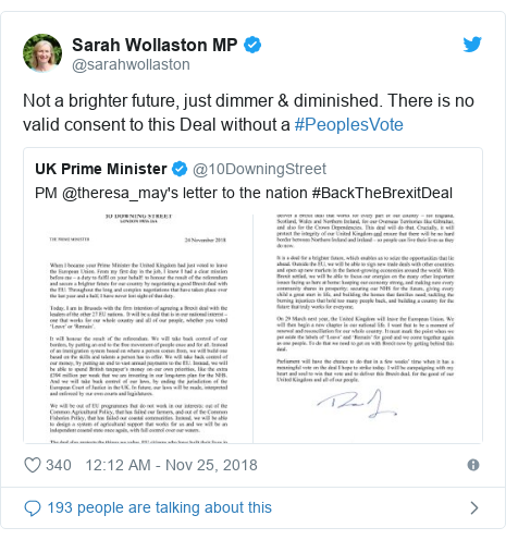 Twitter post by @sarahwollaston: Not a brighter future, just dimmer & diminished. There is no valid consent to this Deal without a #PeoplesVote