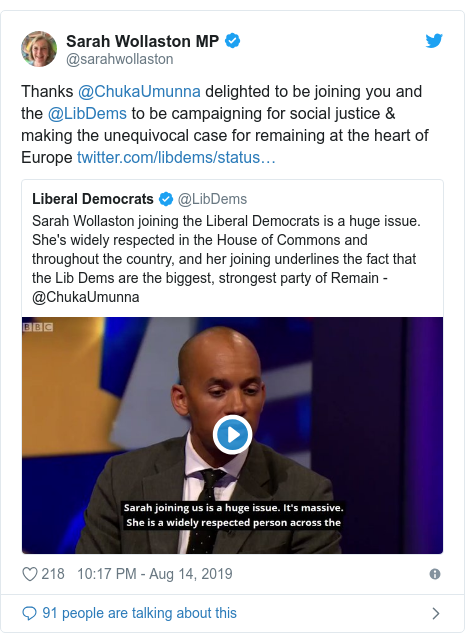 Twitter post by @sarahwollaston: Thanks @ChukaUmunna delighted to be joining you and the @LibDems to be campaigning for social justice & making the unequivocal case for remaining at the heart of Europe